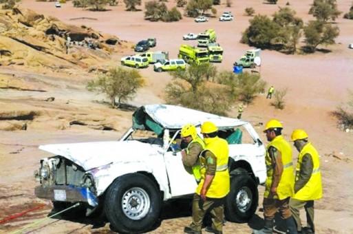 إصابة ثلاثة شبان في انقلاب سيارتهم في حائل